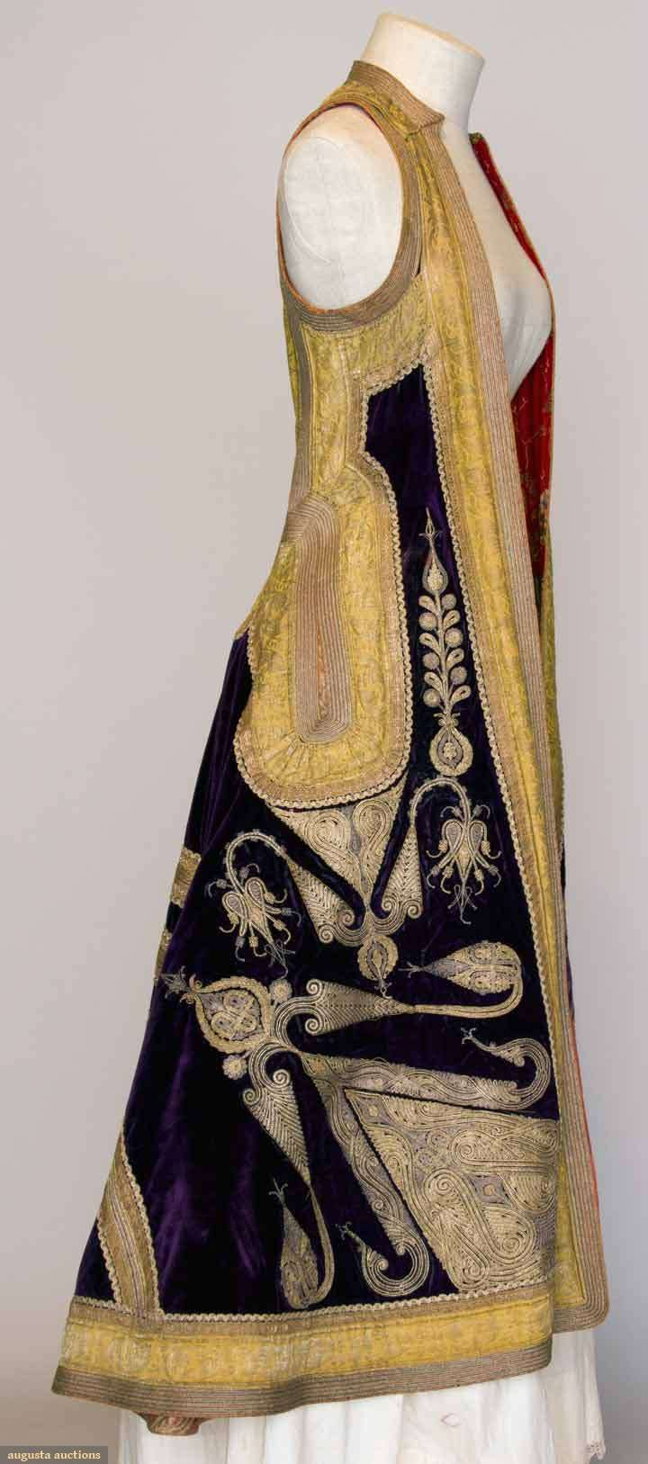 Albania, Woman's Gold Embroidered Coat, Sleeveless purple velvet w/ elaborate gold couched embroidery & gold galloon, printed cotton lining, c. 1900