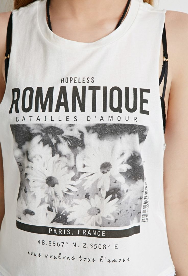 Crochet-Trimmed Romantique Graphic Tank - Tops - Graphic Tees - 2000130427 - Forever 21 EU