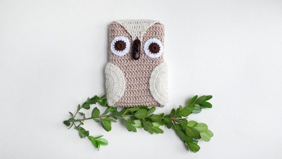 Crochet Beige Owl Phone cozy Beige iPhone Cozygift от HelenKurtidu, €11.00