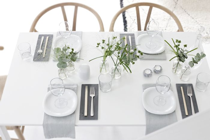 Table setting, grey and green, sushi, girlsnight