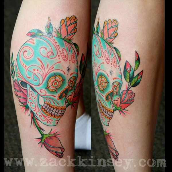 love the color in this sugar skull from Zack Kinsey at Uptown Tattoo