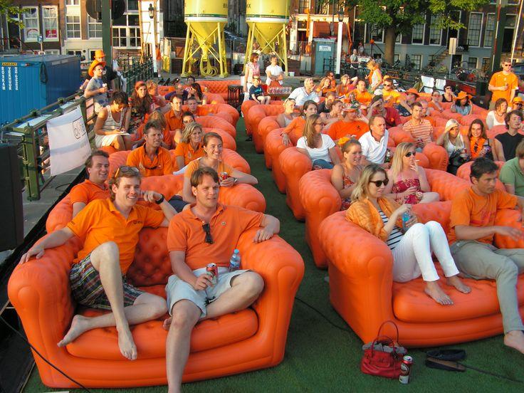 Supporting the Dutch Football team! Watching the match on big screen @ Orange Big Blo's