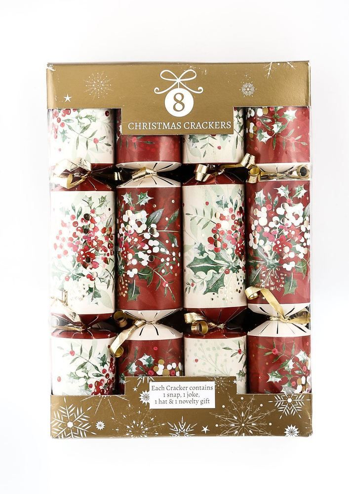 8 Pack Luxury Vintage Christmas Crackers Red White Holly Berry Table Decoration
