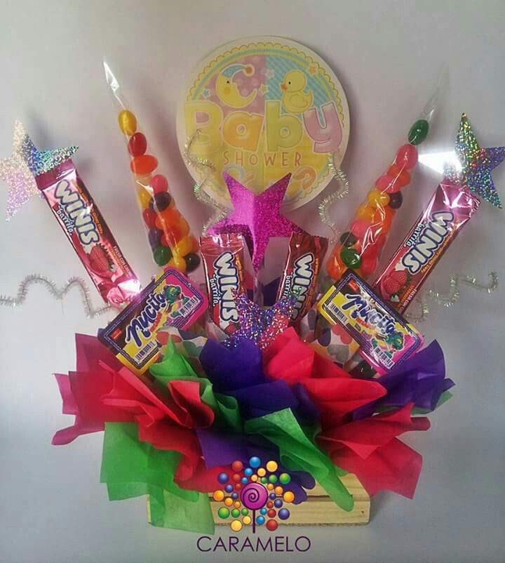 Centro de mesa con dulces para baby shower caramelo - Centros de mesa con peceras ...