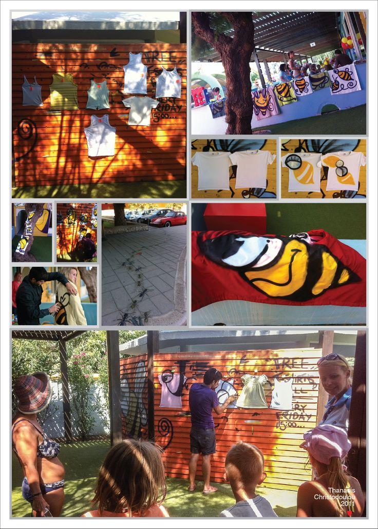 Bees–Spray painted clothes. #bee #bees #beeart #art #clothesart #spray #montana