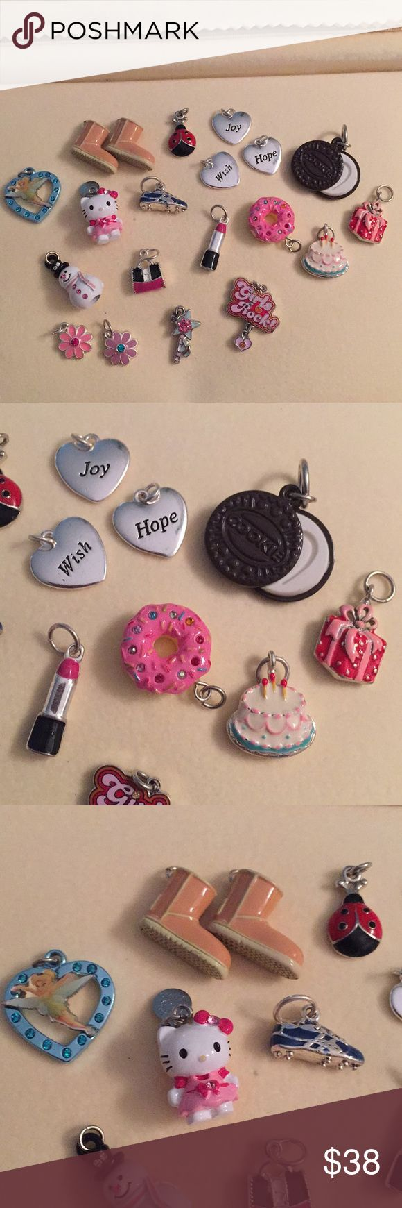 Group of 20 enamel & Silver color, Many unique Group of 20 charms- including uggs, Oreo cookie, flowers, ladybug, snowman, Hello Kitty, lipstick, purse, running shoe, donut, birthday cake, present, etc. Enamel with silver alloy. All new without tags, price for all. unknown Jewelry