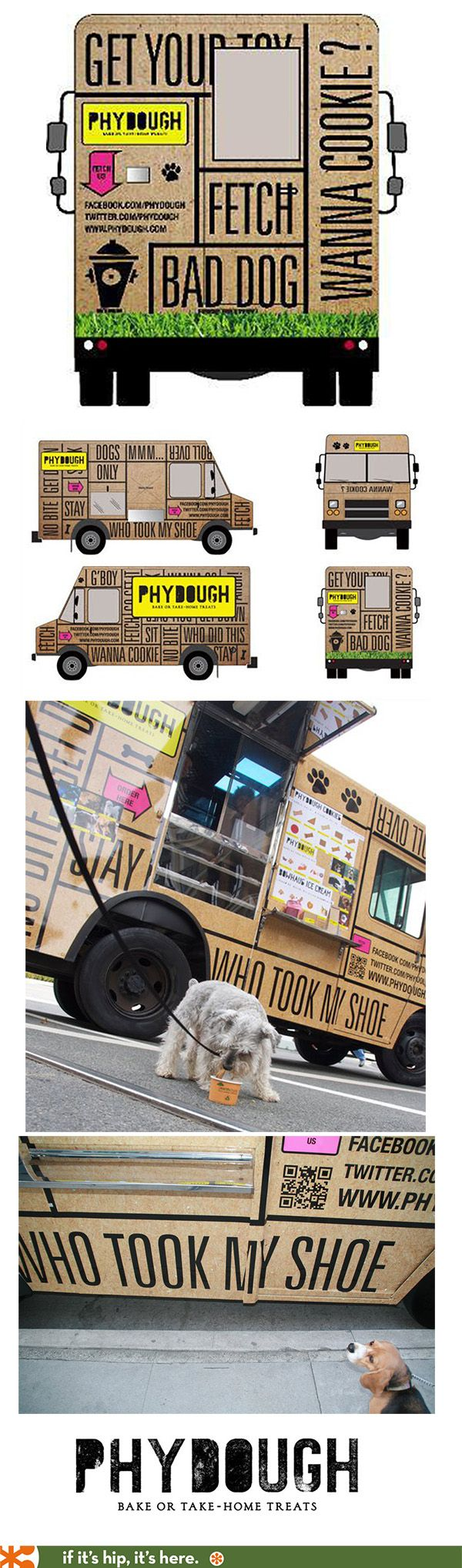 The Phydough Organic Food Truck For Dogs is beautifully wrapped in graphics by Coolhaus.