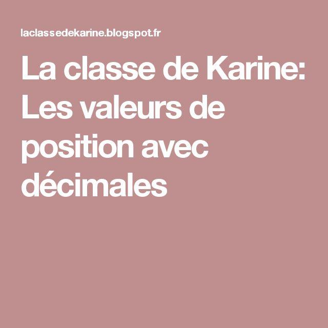 La classe de Karine: Les valeurs de position avec décimales
