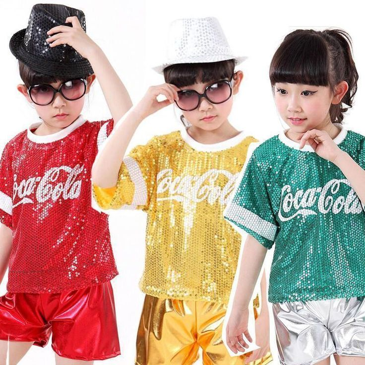 Kids Sequined Ballroom Jazz Hip Hop Dancewear Outfit Girls Party Dance Costumes #danceoutfits #hiphopoutfits