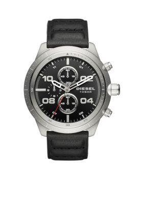 Diesel Men's Men's Padlock Chronograph Black Leather Watch - Black - One Size