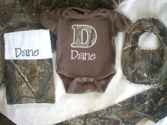 17 best images about gift ideas on pinterest personalized baby baby boy gift set real tree camo personalized brown onesie and burp cloth with matching negle Image collections