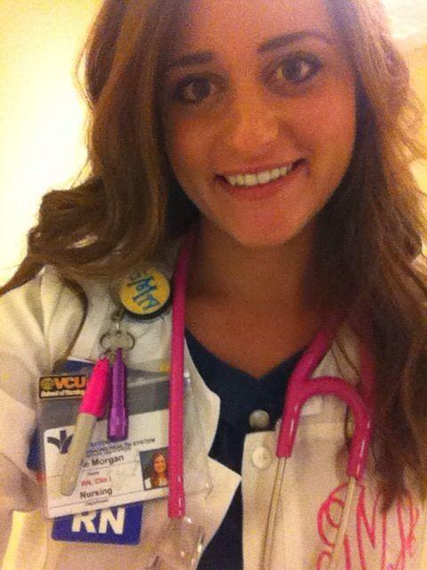 Monogrammed scrubs. Hot pink stethoscope. Monogrammed badge clip.  For the preppy nurse.