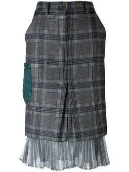 клетчатая юбка с серебристой отделкой