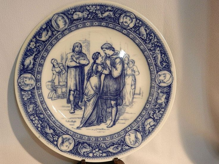 Antique Wedgwood Ivanhoe Flow Blue 10u201d Dinner Plate u2013Ivanhoe and Rebecca Victorian Era : victorian dinnerware - Pezcame.Com