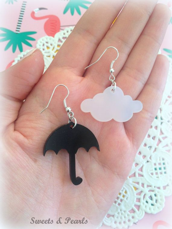 Miniature Acrylic Laser Cut Plexiglass Earrings Hooks/Rain Rainy Weather Umbrella Cloud Pair/Silver Plated/Cute Jewelry Handmade Decoden