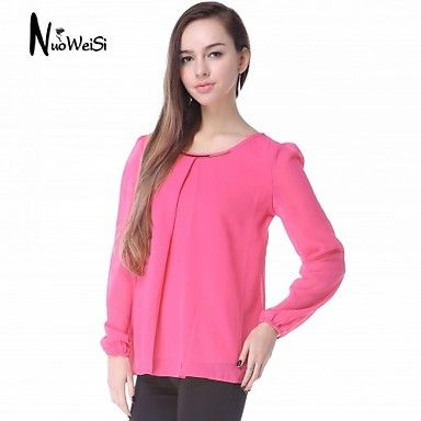 NUO WEI SI ® Women's Round Neck Bodycon Chiffon Shirt - USD $ 9.90