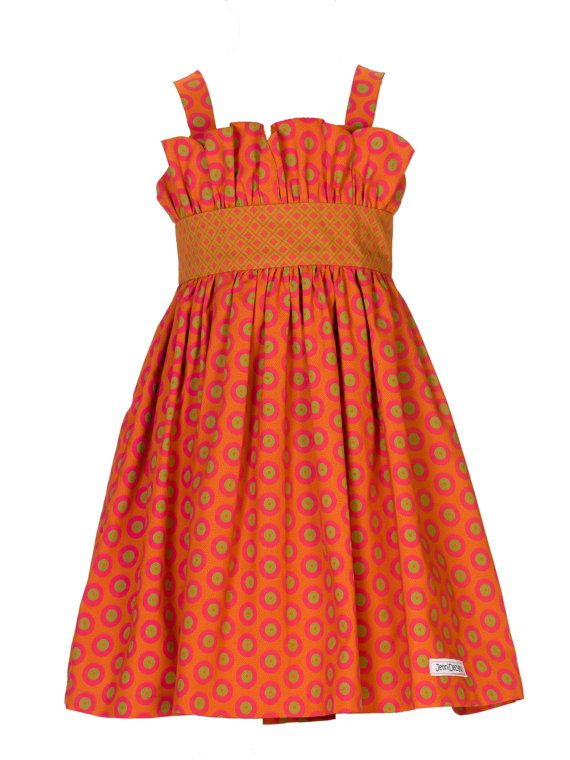 Girls Orange/Pink African Print Dress - Ubule 'Beautiful'