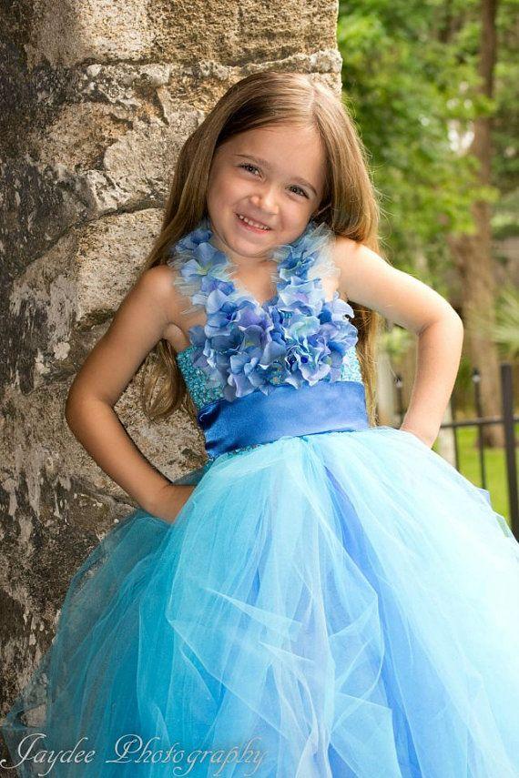 Blue Halter tutu dress Princess dress flower girl by Gurliglam, $85.00