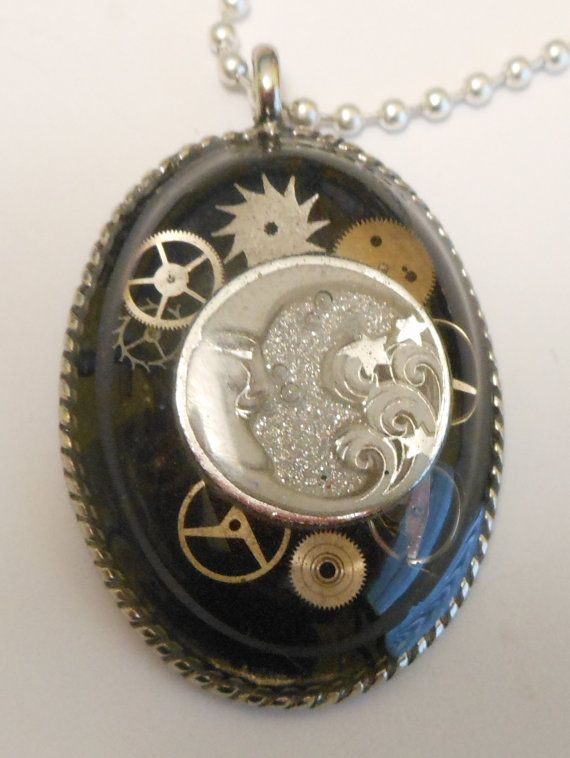 Hey, I found this really awesome Etsy listing at https://www.etsy.com/listing/173413631/steampunk-moon-on-black-with-silver