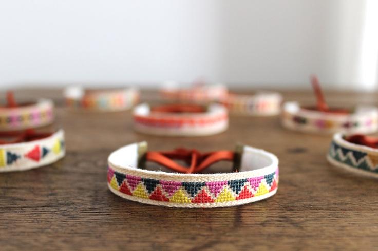 embroidered linen bracelet (etsy)