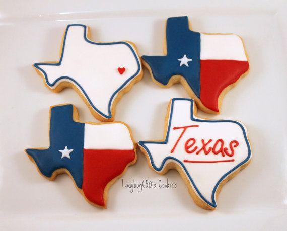 12 Lone Star Texas cookies, handmade & iced on Etsy, $30.00