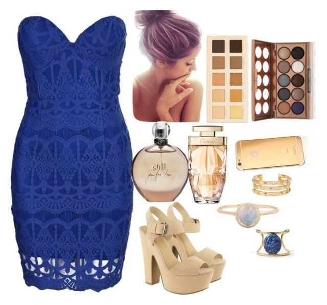 """Cold golds mix match with ocean blue styled with a cute bun "" by moniquebovino on Polyvore"