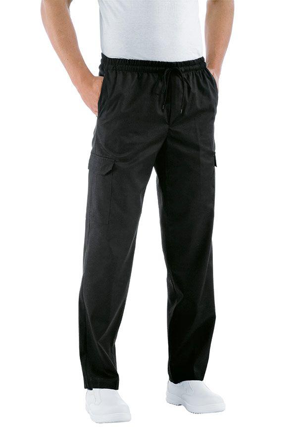 MODEL CHEF - 115 lei. Un pantalon comod, conceput cu buzunare clasice dar si cu doua buzunare aplicate pe lateralul lor, cu banda elastica, dublata de snur la partea superioara, care fac din acest model de pantaloni alegerea perfecta pentru cine isi doreste un plus de comoditate in bucatarie.