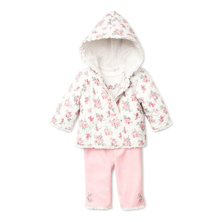 "Layette Quilted Jacket with matching pants and bodysuit  - ""Chateau Rose Quilted Jacket Set"""