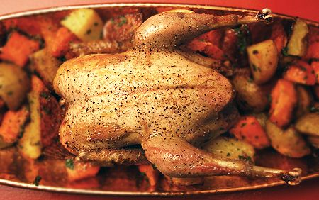 "Simple Roast Pheasant by Hank Shaw. An 8 hr brine is necessary, ""this will season the bird and help it to retain moisture. Brining is a critical step when roasting lean game birds such as wild turkey, pheasant, sharptail grouse, or even smaller birds such as chukars or quail. You risk dry birds if you skip this step""."