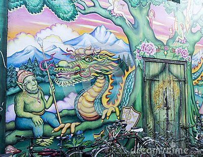 Detail of a murales entering christiania