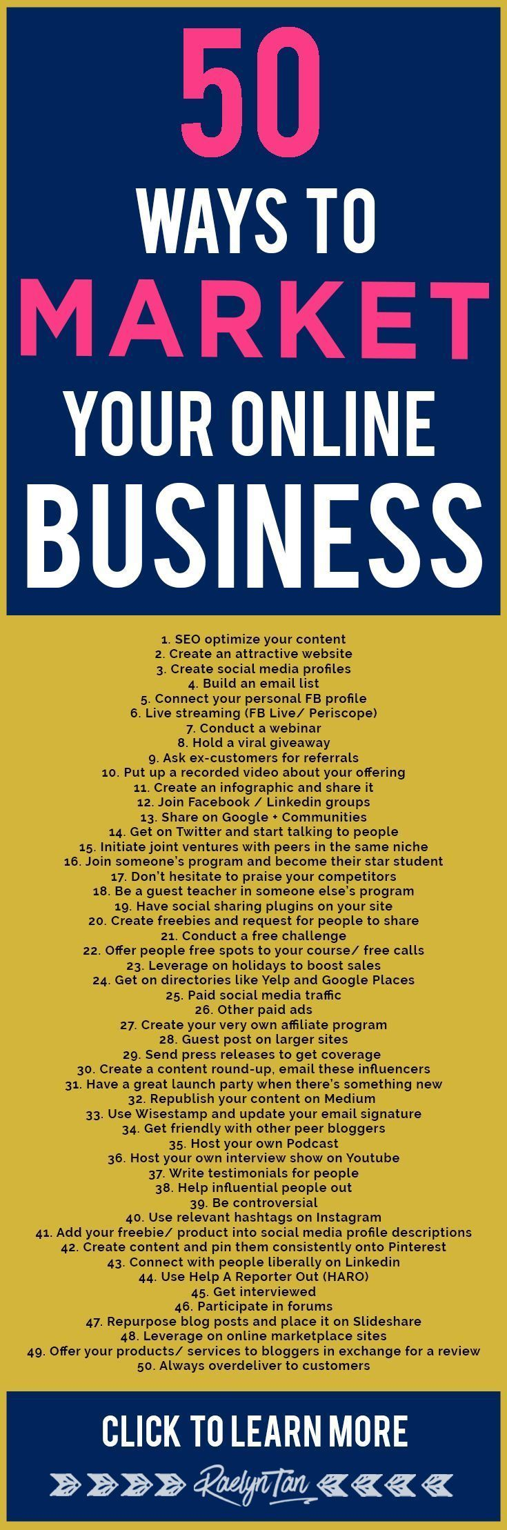 How to market your online business: 50 marketing tips and ideas to successfully make money as an online entrepreneur. #onlinebusiness #startup #entrepreneur