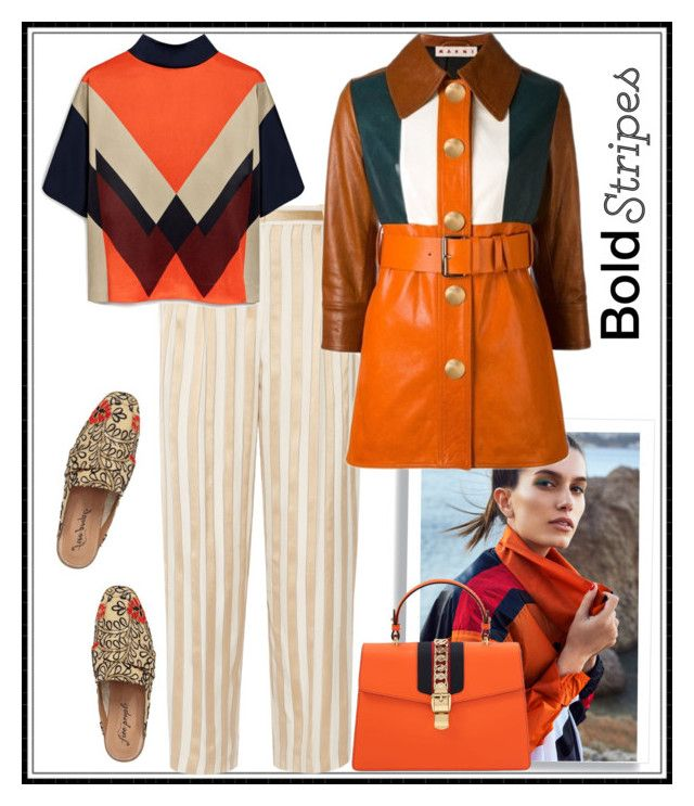 """""""Striped pants"""" by kleinwillwin ❤ liked on Polyvore featuring The Row, Mulberry, Free People, Marni and Gucci"""