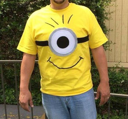 DIY Minion Shirt.    Yellow Shirt. White and Black Felt Black Fabric Paint  Fabric Glue.   Easy to do.
