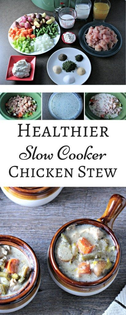 Healthier Slow Cooker Chicken Stew combines chicken, potatoes, celery, green beans, carrots, buttermilk, milk, sour cream, and spices to make healthy stew.
