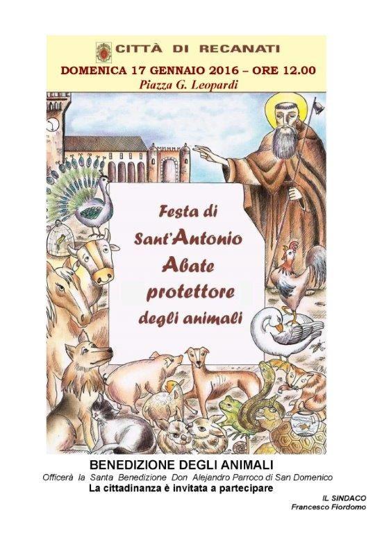 Domenica 17 Gennaio  Festa Sant' Antonio Abate   Piazza G. Leopardi - Porto Recanati ore 12.00