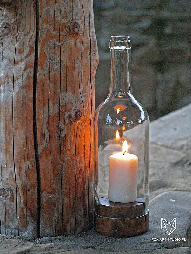 Sklep online: www.foxartstudio.pl  _____________________________   #lampion #szklany #drewno #wood #glass #bottle #wine #winebottle #candle #holder #candle #stick #świecznik #skandynawskie #dodatki #dekoracje #do #domu #na #taras #na #balkon #skandynawski #design