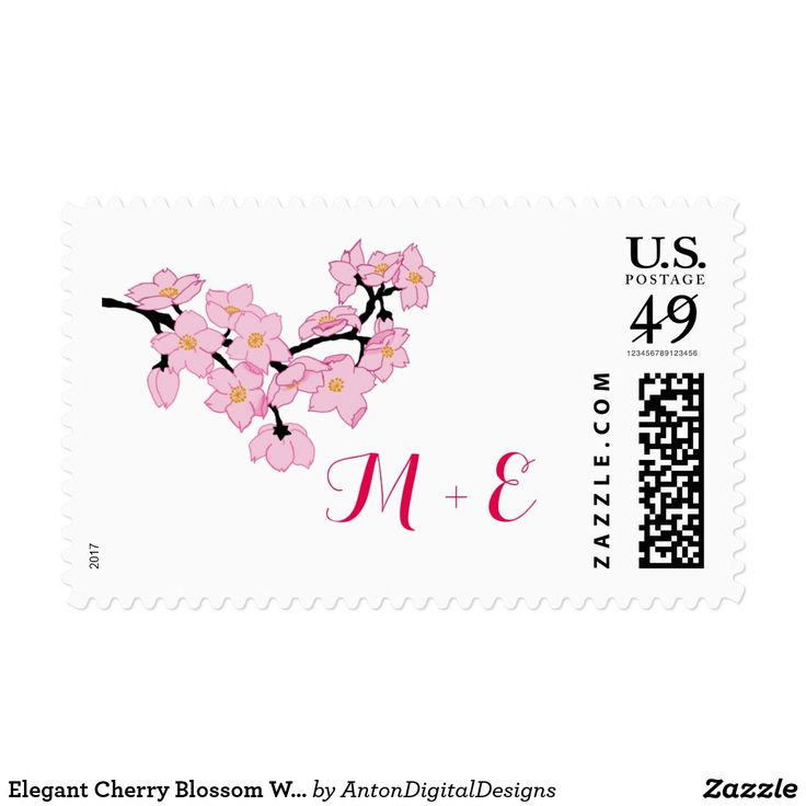 Elegant Cherry Blossom Wedding Postage