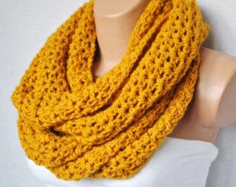 Crochet bufanda infinity - bufanda infinity mostaza-chimenea de grueso