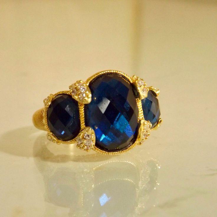 Judith Ripka 3 Stone Blue 14K Gold Clad 7 #JudithRipka #Ring