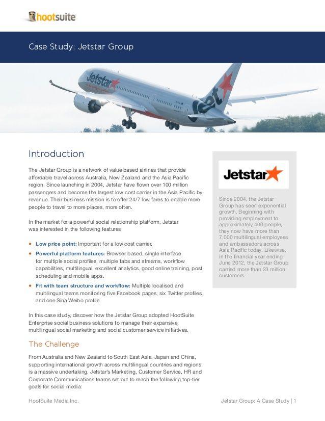 Enterprise Case Study with Jetstar Airways by HootSuite via slideshare