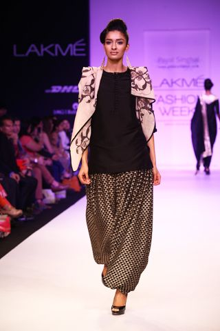 Black Silk Mul Kurta with Embroidered Patiala Salwar and Printed Dupatta. Shop The Look at http://www.payalsinghal.com/off-the-runway/tanaz-suit