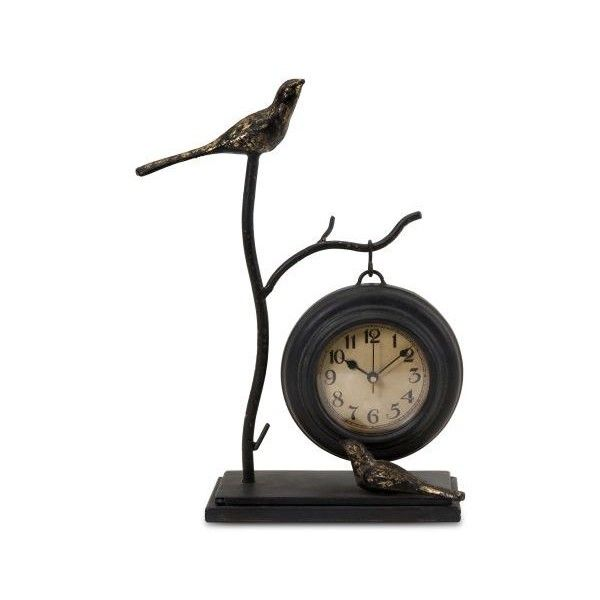 IMAX Home 16159 Bird and Branch with Hanging Clock N/A Home Decor Desk ($39) ❤ liked on Polyvore featuring home, home decor, clocks, bird, desk clocks, iron clock, iron home decor, black mantel clock, bird clock and bird home decor