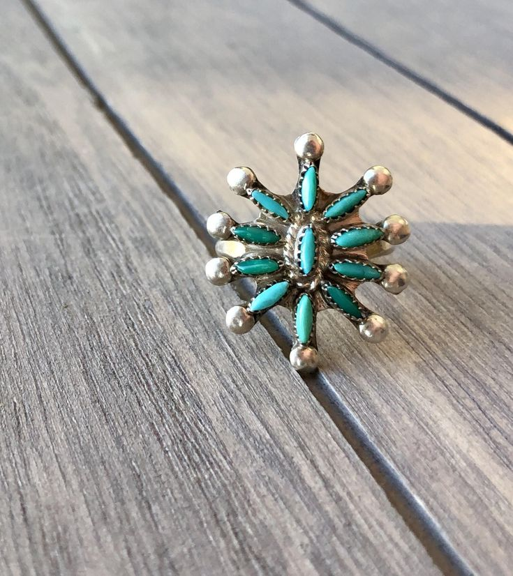 Vintage Turquoise Ring -:- Southwest - Aztec Style - Art Nouveau -Sterling Silver Ring – Victorian- Flower - Size 6 by AdoreYouVintage on Etsy