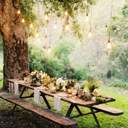 Pique-nique, table, nature, lampions