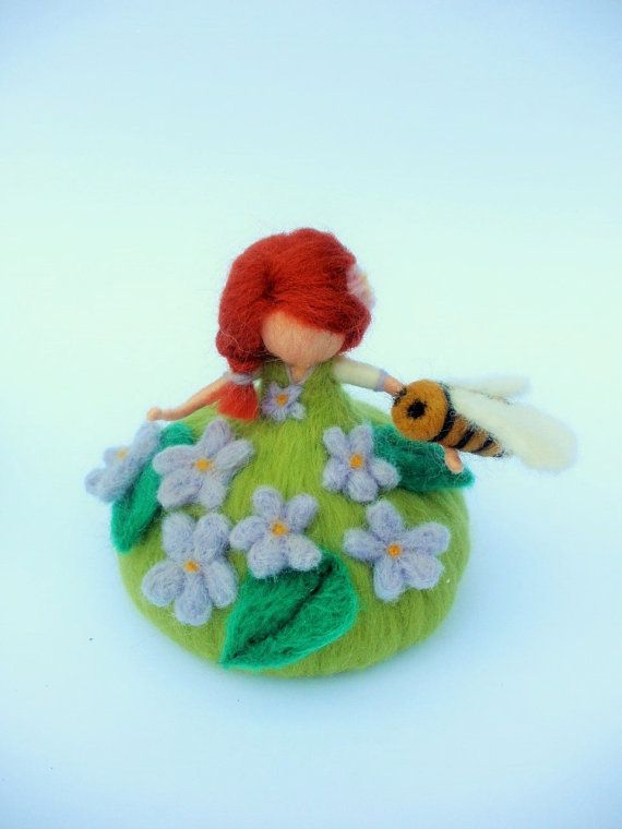 Violet fairy with a bee needle felted colorful by Freyjafairies