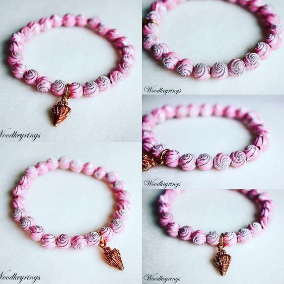 Handmade Light Pink Diamonds Spiral Pattern Round Beads Bracelet #Handmade #Beaded