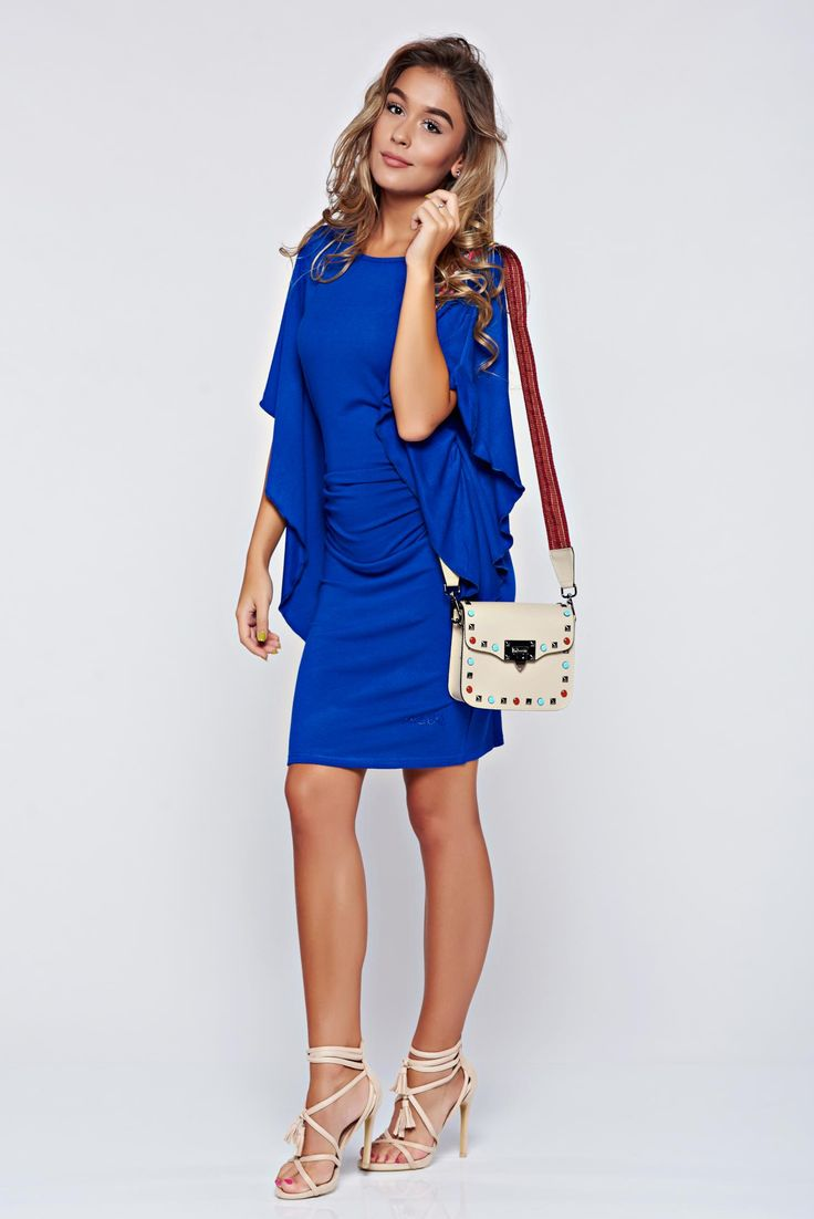Comanda online, Rochie MissQ albastra casual cu maneci tip fluture. Articole masurate, calitate garantata!