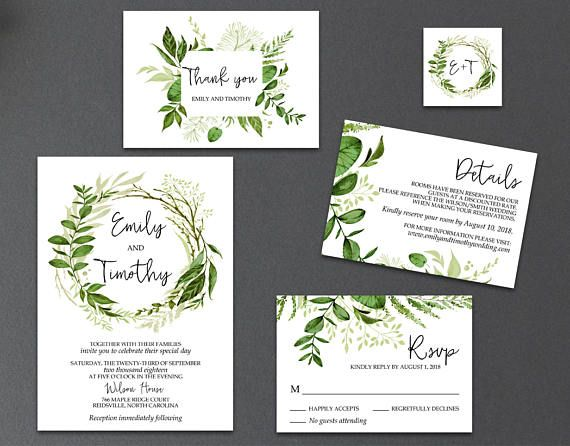 5-Piece Suite-Greenery Wedding Invitation Templates Printable