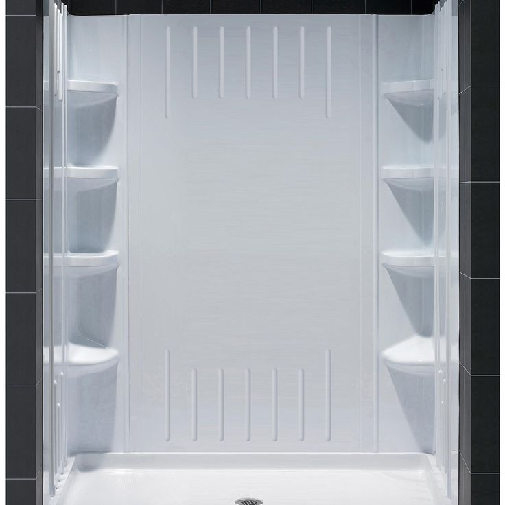 "DreamLine DL-6147C-01 SlimLine 34"" by 60"" Shower Base and QWALL-3 Shower Backwall Kit"