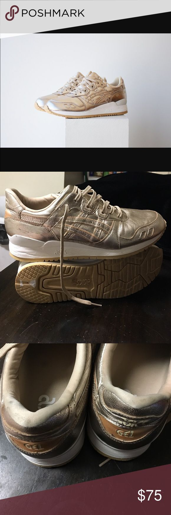 Champagne Gel Lyte III Asics Champagne/gold colored Gel Lyte III Asics sneakers. In excellent condition, worn not a few times. Small scuffs shown in second and third photo, other than that these are like new. Size 9.5. Open to offers; bundles discounted! Asics Shoes Sneakers
